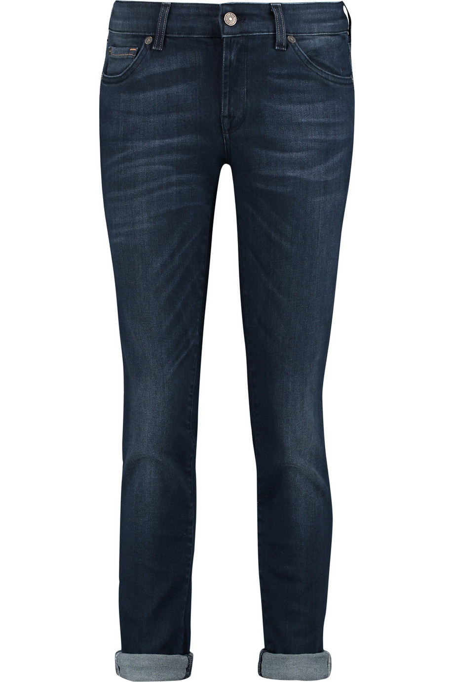 Cristen Mid Rise Skinny Jeans Dark Denim - style: skinny leg; pattern: plain; pocket detail: traditional 5 pocket; waist: mid/regular rise; predominant colour: navy; occasions: casual, creative work; length: ankle length; fibres: cotton - stretch; jeans detail: whiskering; jeans & bottoms detail: turn ups; texture group: denim; pattern type: fabric; season: a/w 2015; wardrobe: basic