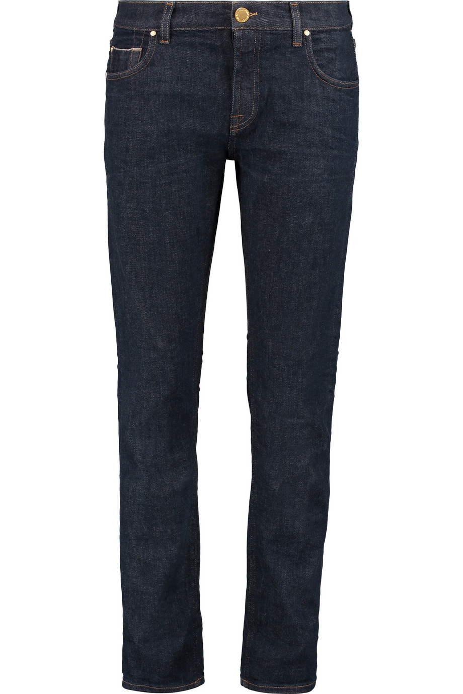 Relaxed Skinny Mid Rise Straight Leg Jeans Dark Denim - style: straight leg; pattern: plain; pocket detail: traditional 5 pocket; waist: mid/regular rise; predominant colour: navy; occasions: casual; length: ankle length; fibres: cotton - stretch; jeans detail: dark wash; texture group: denim; pattern type: fabric; season: a/w 2015