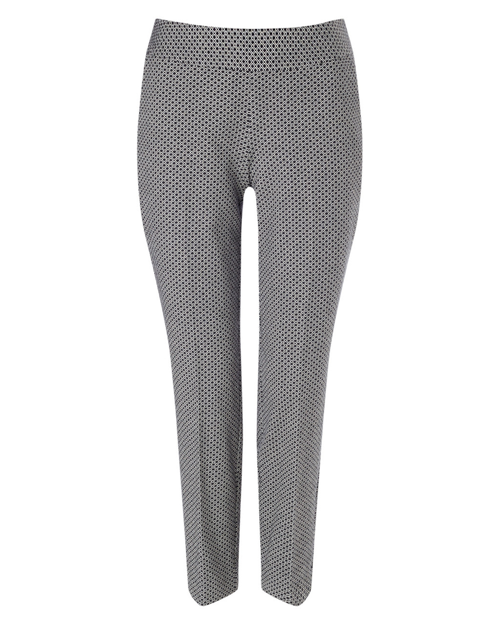 Fiona Mini Geo Trouser - style: capri; waist: mid/regular rise; secondary colour: light grey; predominant colour: black; length: ankle length; fit: slim leg; pattern type: fabric; pattern: patterned/print; texture group: woven light midweight; occasions: creative work; pattern size: light/subtle (bottom); season: a/w 2015; wardrobe: highlight