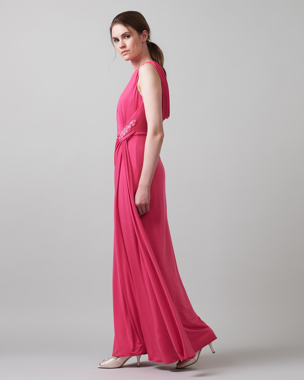 Chelsea Dress - neckline: round neck; pattern: plain; sleeve style: sleeveless; style: maxi dress; predominant colour: hot pink; length: floor length; fit: body skimming; occasions: occasion; sleeve length: sleeveless; pattern type: fabric; texture group: jersey - stretchy/drapey; season: a/w 2015; wardrobe: event
