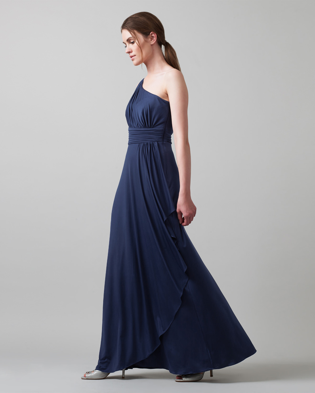Saffron Dress - pattern: plain; sleeve style: sleeveless; style: maxi dress; neckline: asymmetric; predominant colour: navy; length: floor length; fit: fitted at waist & bust; occasions: occasion; sleeve length: sleeveless; pattern type: fabric; texture group: other - light to midweight; season: a/w 2015; wardrobe: event