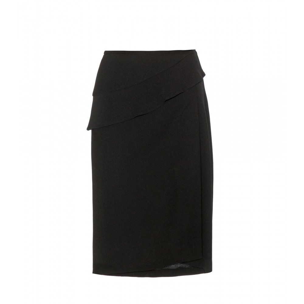 Wool Crêpe Skirt - pattern: plain; style: straight; waist: mid/regular rise; predominant colour: black; occasions: evening, occasion; length: just above the knee; fibres: wool - mix; texture group: crepes; fit: straight cut; pattern type: fabric; season: a/w 2015; wardrobe: event