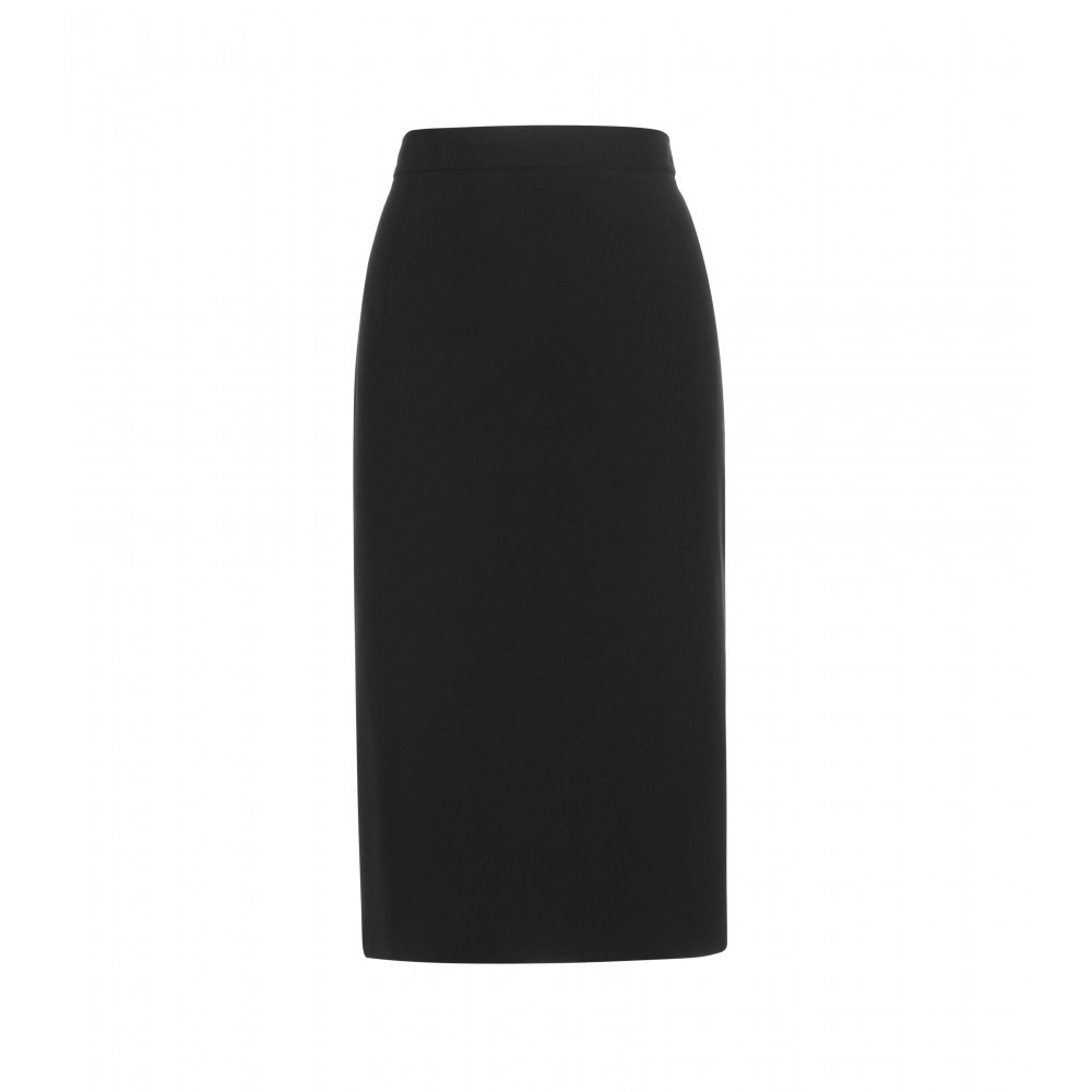Cotton Crêpe Skirt - pattern: plain; style: straight; fit: tailored/fitted; waist: high rise; predominant colour: black; occasions: evening, work, creative work; length: on the knee; fibres: cotton - mix; waist detail: feature waist detail; texture group: crepes; pattern type: fabric; season: a/w 2015; wardrobe: basic