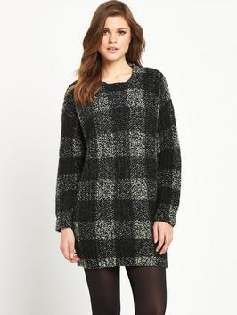 Long Sleeved Cn Tunic Sweater - neckline: round neck; pattern: checked/gingham; length: below the bottom; style: standard; secondary colour: mid grey; predominant colour: black; occasions: casual; fibres: wool - mix; fit: loose; sleeve length: long sleeve; sleeve style: standard; texture group: knits/crochet; pattern type: knitted - other; pattern size: standard; season: a/w 2015; wardrobe: highlight