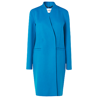 Sandra Wool Coat - pattern: plain; collar: round collar/collarless; length: mid thigh; predominant colour: diva blue; occasions: work, creative work; fit: tailored/fitted; fibres: wool - mix; sleeve length: long sleeve; sleeve style: standard; collar break: high; pattern type: fabric; texture group: woven bulky/heavy; style: single breasted military coat; season: a/w 2015; wardrobe: highlight; embellishment location: hip