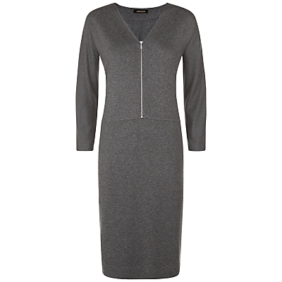 Jersey Zip Dress - style: shift; neckline: v-neck; pattern: plain; predominant colour: charcoal; occasions: casual, creative work; length: just above the knee; fit: body skimming; fibres: viscose/rayon - stretch; sleeve length: 3/4 length; sleeve style: standard; texture group: crepes; pattern type: fabric; season: a/w 2015