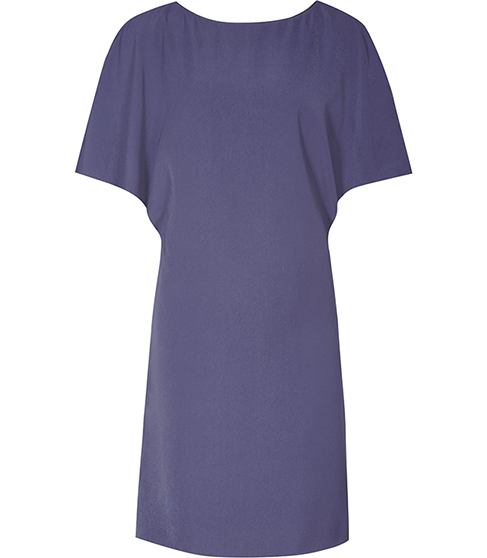 Lucana Fluid Cap Sleeve Dress - style: shift; neckline: round neck; sleeve style: capped; pattern: plain; predominant colour: navy; occasions: evening; length: just above the knee; fit: body skimming; fibres: silk - 100%; sleeve length: short sleeve; pattern type: fabric; texture group: other - light to midweight; season: a/w 2015; wardrobe: event