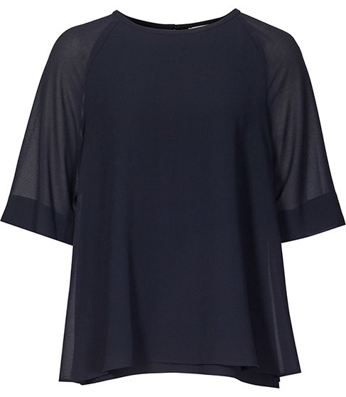 Ryder Double Layer Top - pattern: plain; predominant colour: navy; occasions: evening; length: standard; style: top; fibres: polyester/polyamide - 100%; fit: body skimming; neckline: crew; sleeve length: short sleeve; sleeve style: standard; texture group: crepes; pattern type: fabric; season: a/w 2015