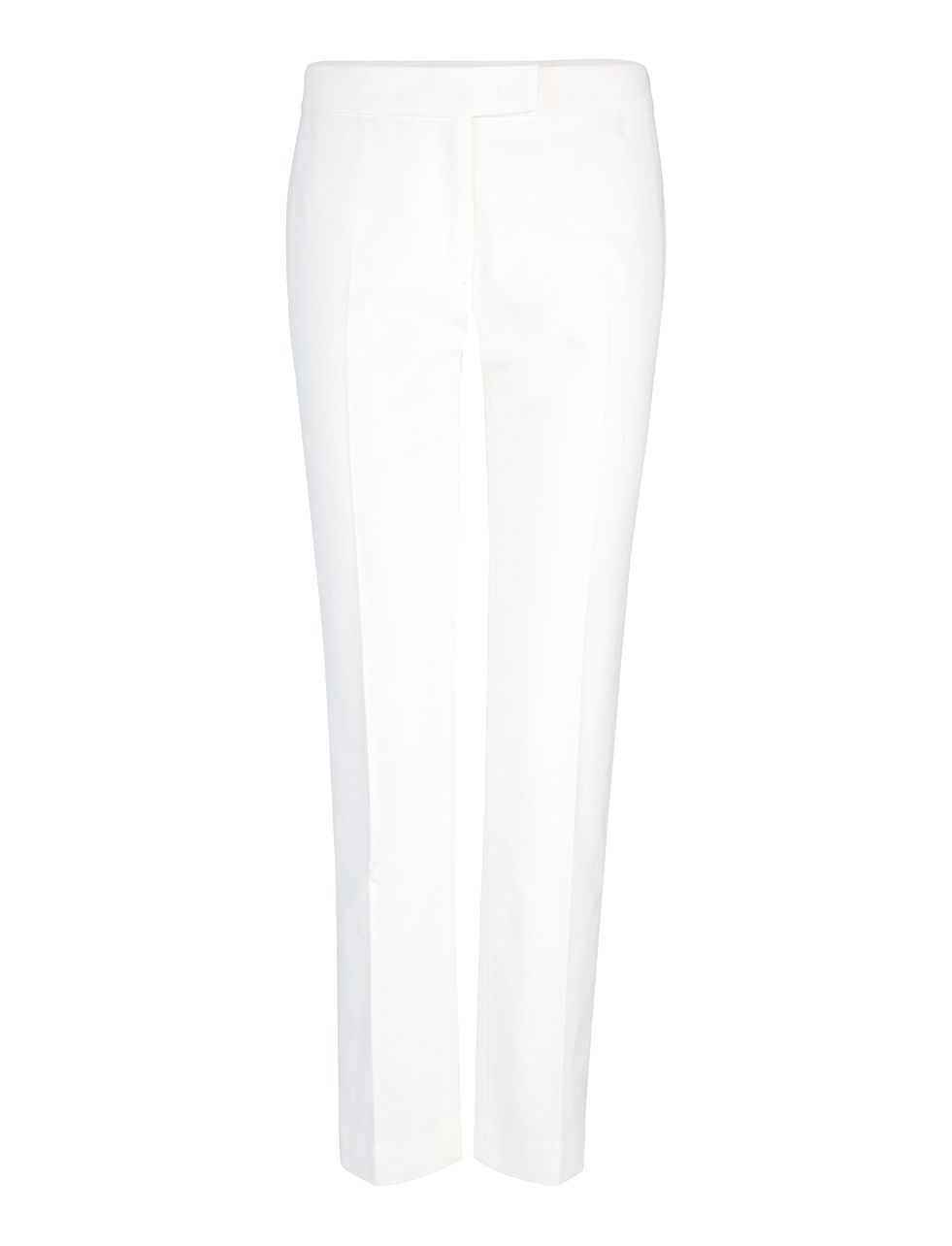 Gabardine Stretch Finley Trouser In Off White - length: standard; pattern: plain; waist: mid/regular rise; predominant colour: white; occasions: evening, creative work; fibres: cotton - mix; texture group: cotton feel fabrics; fit: straight leg; pattern type: fabric; style: standard; season: a/w 2015; wardrobe: basic
