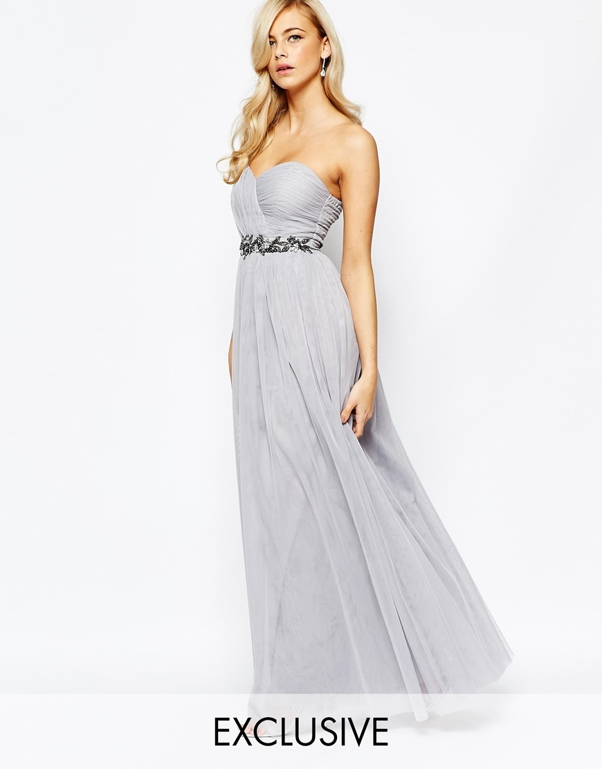 Bandeau Embellished Maxi Dress With Tulle Skirt Grey - neckline: strapless (straight/sweetheart); pattern: plain; style: maxi dress; sleeve style: strapless; secondary colour: charcoal; predominant colour: light grey; occasions: evening, occasion; length: floor length; fit: fitted at waist & bust; fibres: polyester/polyamide - stretch; sleeve length: sleeveless; texture group: sheer fabrics/chiffon/organza etc.; pattern type: fabric; embellishment: beading; season: a/w 2015