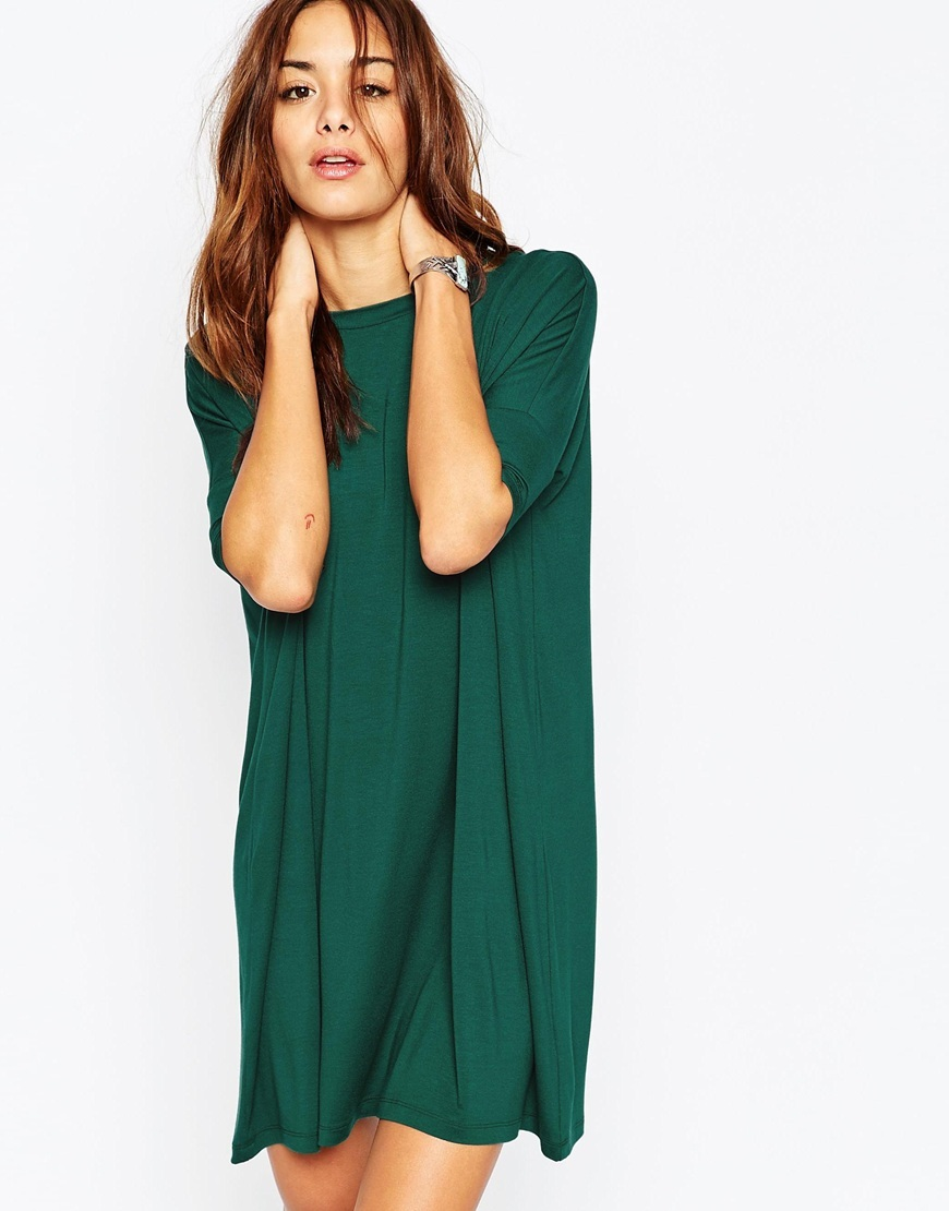 The T Shirt Dress Green - style: t-shirt; length: mid thigh; fit: loose; pattern: plain; predominant colour: emerald green; occasions: casual; fibres: viscose/rayon - stretch; neckline: crew; sleeve length: half sleeve; sleeve style: standard; pattern type: fabric; texture group: jersey - stretchy/drapey; season: a/w 2015