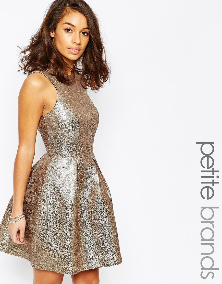Shimmer Skater Dress Silver Mink - pattern: plain; sleeve style: sleeveless; predominant colour: gold; occasions: evening, occasion; length: just above the knee; fit: fitted at waist & bust; style: fit & flare; fibres: polyester/polyamide - mix; neckline: crew; hip detail: adds bulk at the hips; sleeve length: sleeveless; pattern type: fabric; texture group: other - light to midweight; season: a/w 2015; wardrobe: event