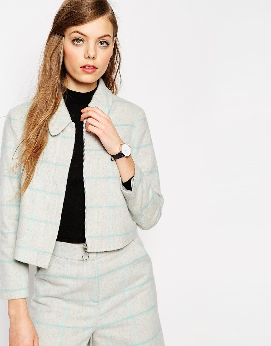 Jacket In Check Co Ord Grey/Blue - pattern: checked/gingham; style: boxy; predominant colour: light grey; occasions: casual, creative work; fit: straight cut (boxy); fibres: wool - mix; collar: shirt collar/peter pan/zip with opening; sleeve length: long sleeve; sleeve style: standard; collar break: high/illusion of break when open; pattern type: fabric; pattern size: standard; texture group: woven light midweight; length: cropped; season: a/w 2015