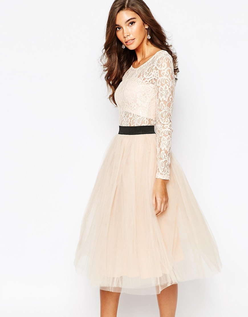 London Sheer Lace Tutu Dress With Contrast Waistband And Tulle Skirt Blush/Black - length: calf length; neckline: round neck; style: full skirt; bust detail: sheer at bust; predominant colour: ivory/cream; secondary colour: black; occasions: evening; fit: fitted at waist & bust; fibres: polyester/polyamide - mix; sleeve length: long sleeve; sleeve style: standard; texture group: lace; pattern type: fabric; pattern size: light/subtle; pattern: colourblock; season: a/w 2015; wardrobe: event