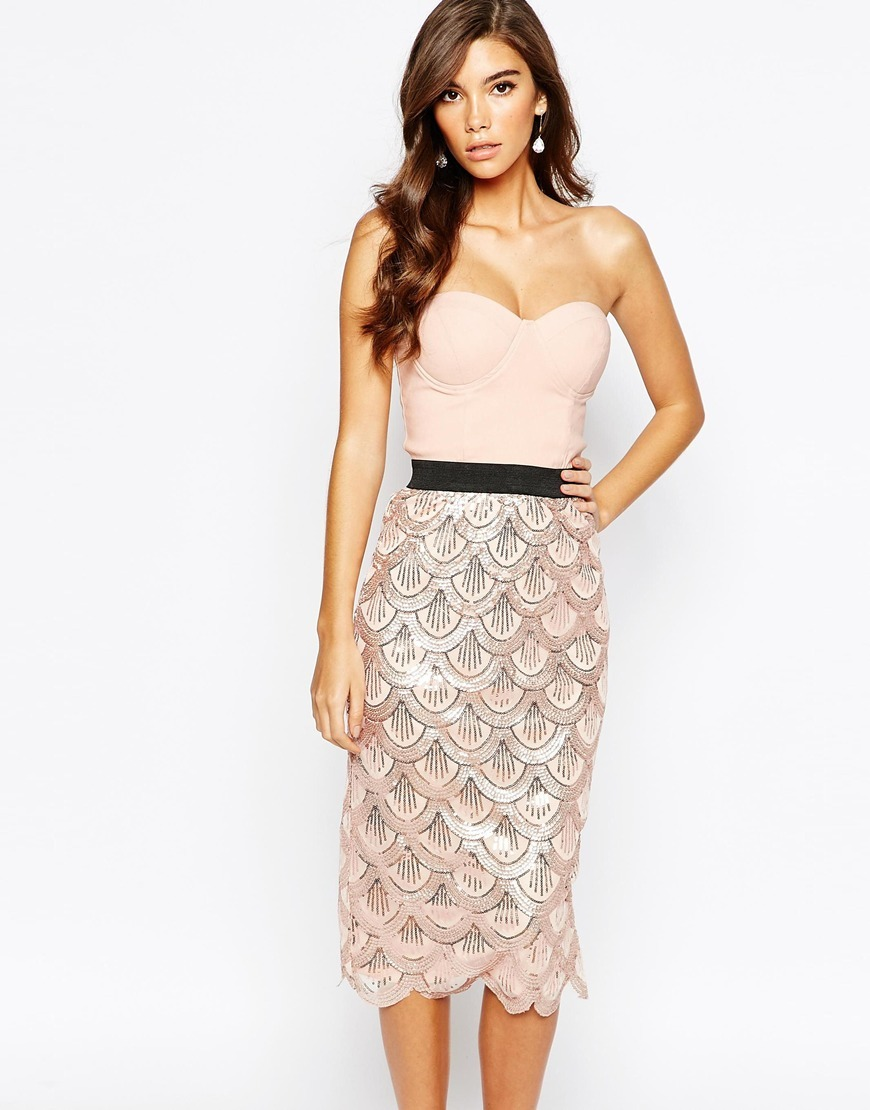 London 2 In 1 Sequin Midi Dress With Scalloped Hem Nude/Rose Gold - style: shift; length: below the knee; neckline: strapless (straight/sweetheart); fit: tight; pattern: plain; sleeve style: sleeveless; predominant colour: blush; secondary colour: black; occasions: evening; fibres: viscose/rayon - stretch; sleeve length: sleeveless; pattern type: fabric; texture group: other - light to midweight; embellishment: sequins; season: a/w 2015