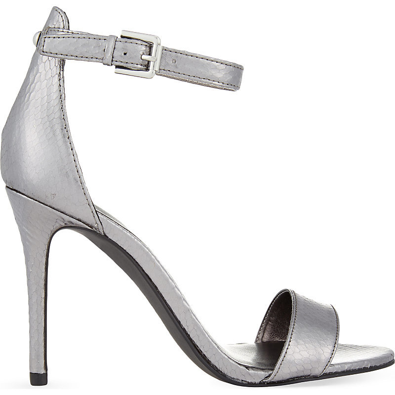 Mana3 Heeled Sandals, Women's, Eur 41 / 8 Uk Women, Silver - predominant colour: silver; occasions: evening, occasion; material: faux leather; heel height: high; ankle detail: ankle strap; heel: stiletto; toe: open toe/peeptoe; style: strappy; finish: metallic; pattern: striped; season: a/w 2015; wardrobe: event