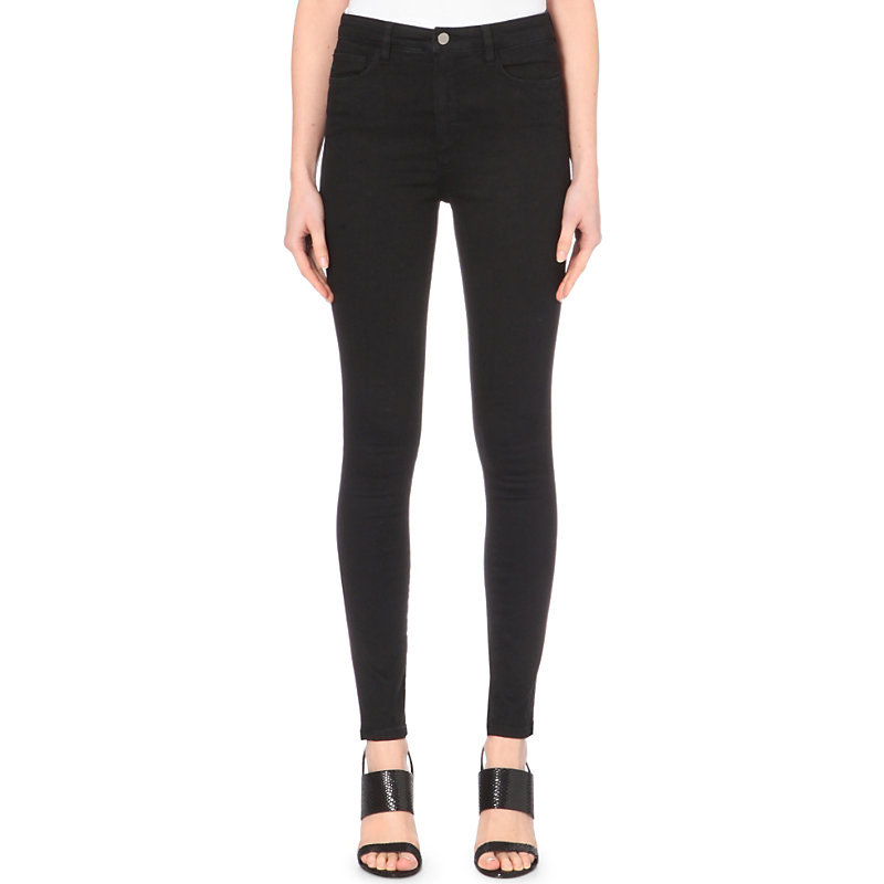 Powerhigh Skinny Mid Rise Jeans, Women's, Black - style: skinny leg; length: standard; pattern: plain; pocket detail: traditional 5 pocket; waist: mid/regular rise; predominant colour: black; occasions: casual; fibres: cotton - stretch; texture group: denim; pattern type: fabric; season: a/w 2015; wardrobe: basic