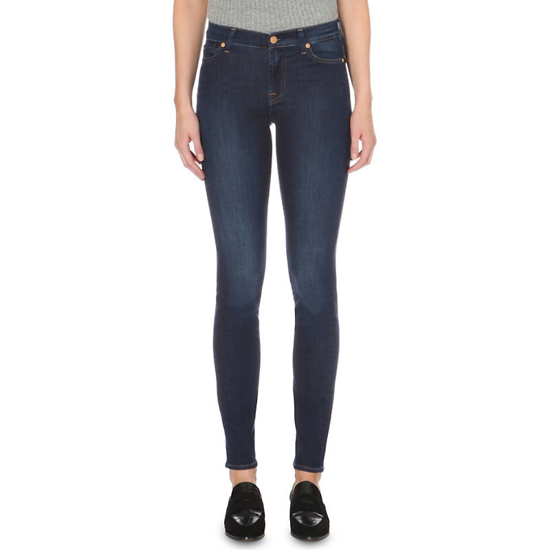 Boston Super Skinny High Rise Jeans, Women's, Boston Blue - style: skinny leg; length: standard; pattern: plain; pocket detail: traditional 5 pocket; waist: mid/regular rise; predominant colour: denim; occasions: casual, creative work; fibres: cotton - stretch; jeans detail: shading down centre of thigh; texture group: denim; pattern type: fabric; season: a/w 2015; wardrobe: basic