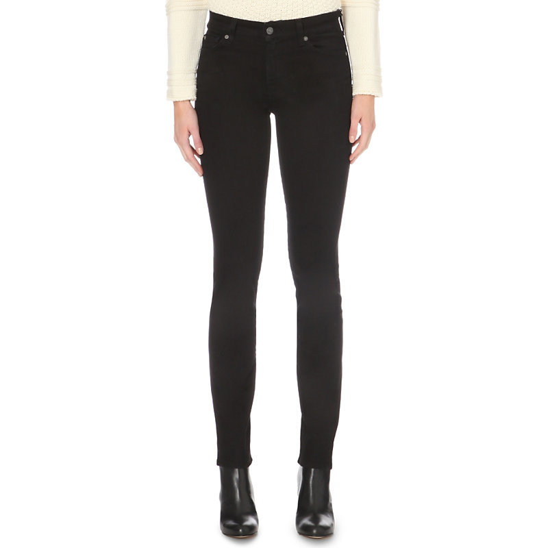 Rozie Super Skinny High Rise Jeans, Women's, Portland Black - style: skinny leg; length: standard; pattern: plain; waist: high rise; pocket detail: traditional 5 pocket; predominant colour: black; occasions: casual; fibres: cotton - stretch; texture group: denim; pattern type: fabric; season: a/w 2015; wardrobe: basic
