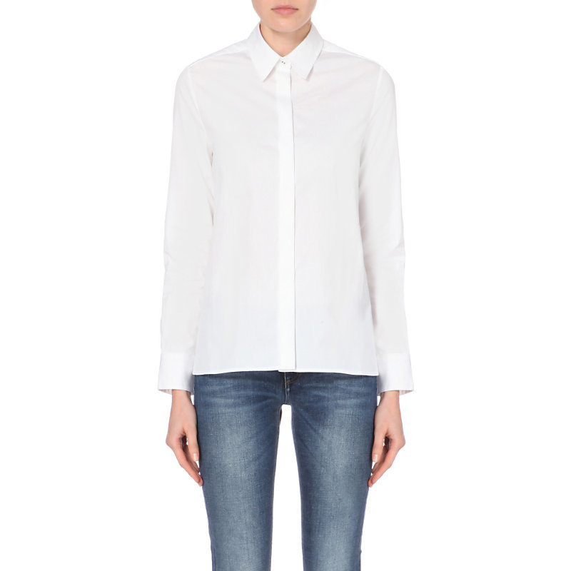 Classic Cotton Shirt, Women's, White - neckline: shirt collar/peter pan/zip with opening; pattern: plain; style: shirt; predominant colour: white; occasions: casual, work; length: standard; fibres: cotton - 100%; fit: body skimming; sleeve length: long sleeve; sleeve style: standard; texture group: cotton feel fabrics; pattern type: fabric; season: a/w 2015