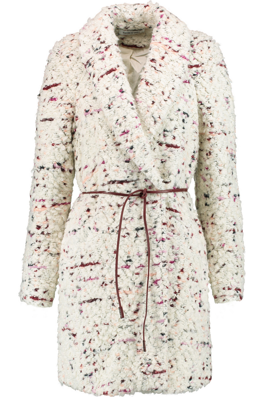Bebe Belted Bouclé Coat Ecru - length: on the knee; style: wrap around; collar: standard lapel/rever collar; predominant colour: ivory/cream; fit: tailored/fitted; fibres: wool - mix; waist detail: belted waist/tie at waist/drawstring; sleeve length: long sleeve; sleeve style: standard; collar break: medium; pattern type: fabric; pattern size: standard; pattern: patterned/print; texture group: woven bulky/heavy; occasions: creative work; season: a/w 2015