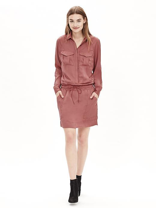 Heritage Cargo Shirtdress Le Rose - style: shirt; length: mid thigh; neckline: shirt collar/peter pan/zip with opening; fit: fitted at waist; pattern: plain; bust detail: pocket detail at bust; waist detail: belted waist/tie at waist/drawstring; occasions: casual; fibres: cotton - 100%; sleeve length: long sleeve; sleeve style: standard; texture group: cotton feel fabrics; pattern type: fabric; predominant colour: dusky pink; season: a/w 2015