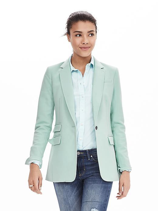 Turquoise One Button Blazer Soft Turquoise - pattern: plain; style: single breasted blazer; length: below the bottom; collar: standard lapel/rever collar; predominant colour: pistachio; occasions: casual, creative work; fit: tailored/fitted; fibres: polyester/polyamide - mix; sleeve length: long sleeve; sleeve style: standard; collar break: low/open; pattern type: fabric; texture group: woven light midweight; season: a/w 2015
