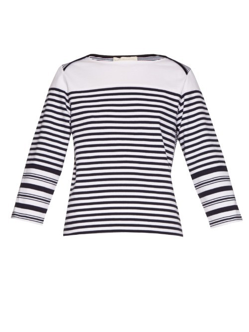Breton Multi Striped Cotton Top - neckline: slash/boat neckline; pattern: horizontal stripes; secondary colour: white; predominant colour: black; occasions: casual; length: standard; style: top; fibres: cotton - 100%; fit: body skimming; sleeve length: long sleeve; sleeve style: standard; pattern type: fabric; texture group: jersey - stretchy/drapey; multicoloured: multicoloured; season: a/w 2015; wardrobe: basic
