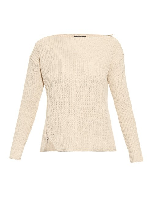 Cascia Sweater - neckline: slash/boat neckline; pattern: plain; style: standard; predominant colour: nude; occasions: casual; length: standard; fibres: cotton - 100%; fit: slim fit; sleeve length: long sleeve; sleeve style: standard; texture group: knits/crochet; pattern type: fabric; season: a/w 2015