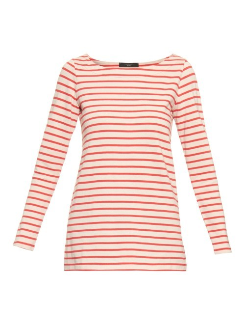 Valanga Sweater - neckline: round neck; pattern: horizontal stripes; style: standard; secondary colour: ivory/cream; predominant colour: true red; occasions: casual; length: standard; fibres: cotton - 100%; fit: slim fit; sleeve length: long sleeve; sleeve style: standard; pattern type: fabric; texture group: jersey - stretchy/drapey; multicoloured: multicoloured; season: a/w 2015