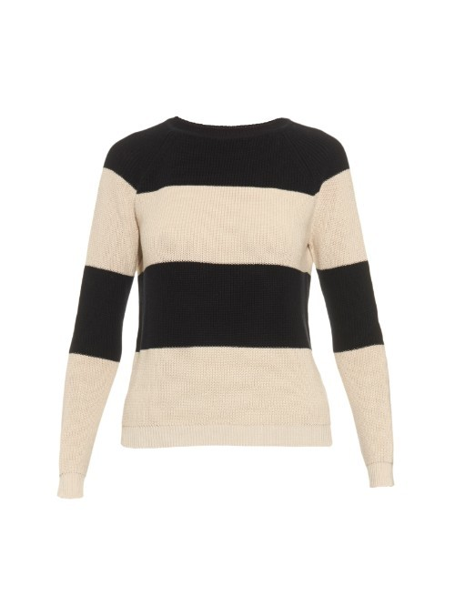 Mia Sweater - pattern: horizontal stripes; style: standard; predominant colour: white; secondary colour: black; occasions: casual; length: standard; fibres: cotton - 100%; fit: slim fit; neckline: crew; sleeve length: long sleeve; sleeve style: standard; texture group: knits/crochet; pattern type: knitted - fine stitch; pattern size: standard; multicoloured: multicoloured; season: a/w 2015; wardrobe: highlight