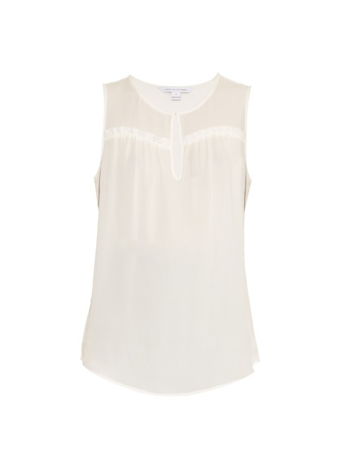 Dalton Top - neckline: round neck; pattern: plain; sleeve style: sleeveless; style: blouse; predominant colour: ivory/cream; occasions: casual, creative work; length: standard; fibres: silk - 100%; fit: body skimming; sleeve length: sleeveless; texture group: crepes; pattern type: fabric; season: a/w 2015