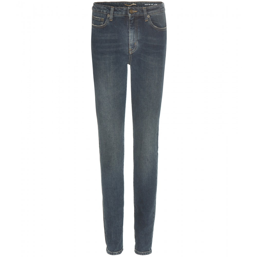 Distressed High Rise Skinny Jeans - style: skinny leg; length: standard; pattern: plain; pocket detail: traditional 5 pocket; waist: mid/regular rise; predominant colour: navy; occasions: casual; fibres: cotton - stretch; jeans detail: whiskering, washed/faded; texture group: denim; pattern type: fabric; season: a/w 2015; wardrobe: basic
