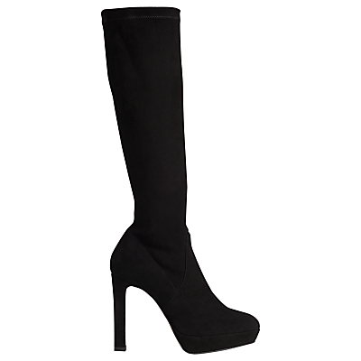 Ali High Heeled Knee High Boots - predominant colour: black; material: suede; heel height: high; heel: stiletto; toe: round toe; boot length: knee; style: standard; finish: plain; pattern: plain; occasions: creative work; shoe detail: platform; season: a/w 2015; wardrobe: investment