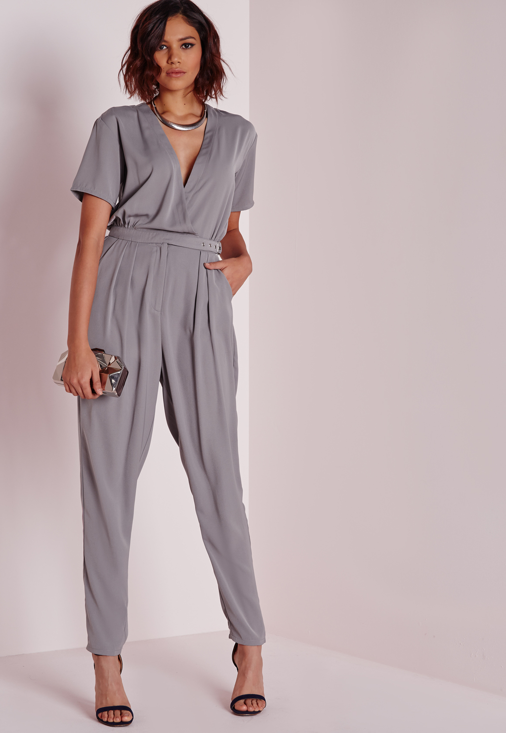 Belted Wrap Front Jumpsuit Grey, Grey - length: standard; neckline: low v-neck; pattern: plain; waist detail: belted waist/tie at waist/drawstring; predominant colour: light grey; occasions: evening; fit: body skimming; fibres: polyester/polyamide - 100%; sleeve length: short sleeve; sleeve style: standard; style: jumpsuit; pattern type: fabric; texture group: jersey - stretchy/drapey; season: a/w 2015