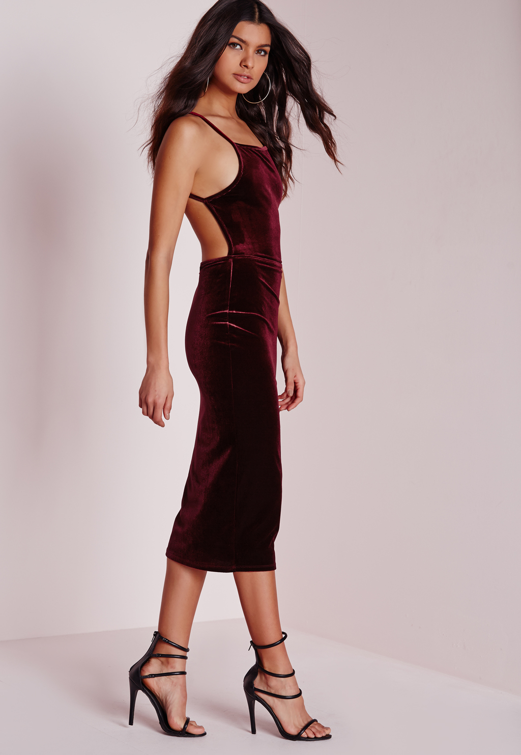 Tall Open Back Bodycon Dress Burgundy, Burgundy - length: calf length; sleeve style: spaghetti straps; fit: tight; pattern: plain; style: bodycon; back detail: low cut/open back; predominant colour: burgundy; occasions: evening; neckline: scoop; fibres: polyester/polyamide - stretch; sleeve length: sleeveless; pattern type: fabric; texture group: velvet/fabrics with pile; season: a/w 2015