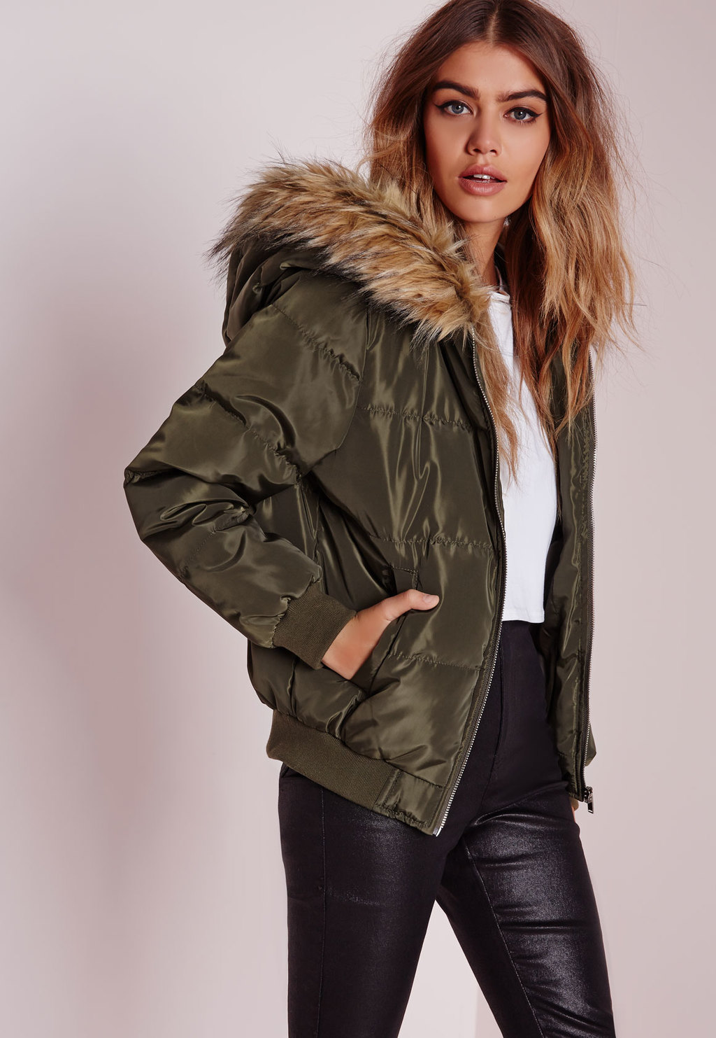 Padded Faux Fur Hood Jacket Khaki, Beige - pattern: plain; length: standard; collar: funnel; fit: loose; style: parka; predominant colour: khaki; occasions: casual; fibres: polyester/polyamide - 100%; sleeve length: long sleeve; sleeve style: standard; texture group: technical outdoor fabrics; collar break: high; pattern type: fabric; embellishment: fur; season: a/w 2015; wardrobe: highlight