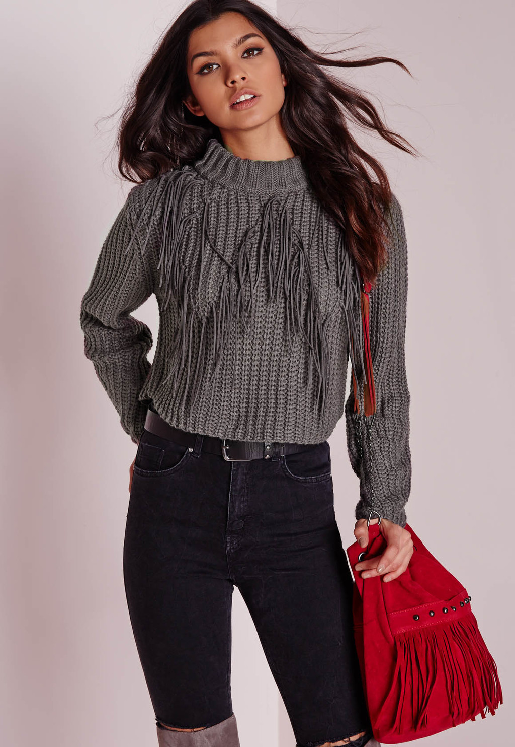 Faux Suede Fringed Crop Jumper Grey, Grey - pattern: plain; neckline: high neck; style: standard; predominant colour: charcoal; occasions: casual, creative work; length: standard; fibres: acrylic - mix; fit: standard fit; sleeve length: long sleeve; sleeve style: standard; texture group: knits/crochet; pattern type: knitted - other; embellishment: fringing; season: a/w 2015; wardrobe: highlight; embellishment location: bust