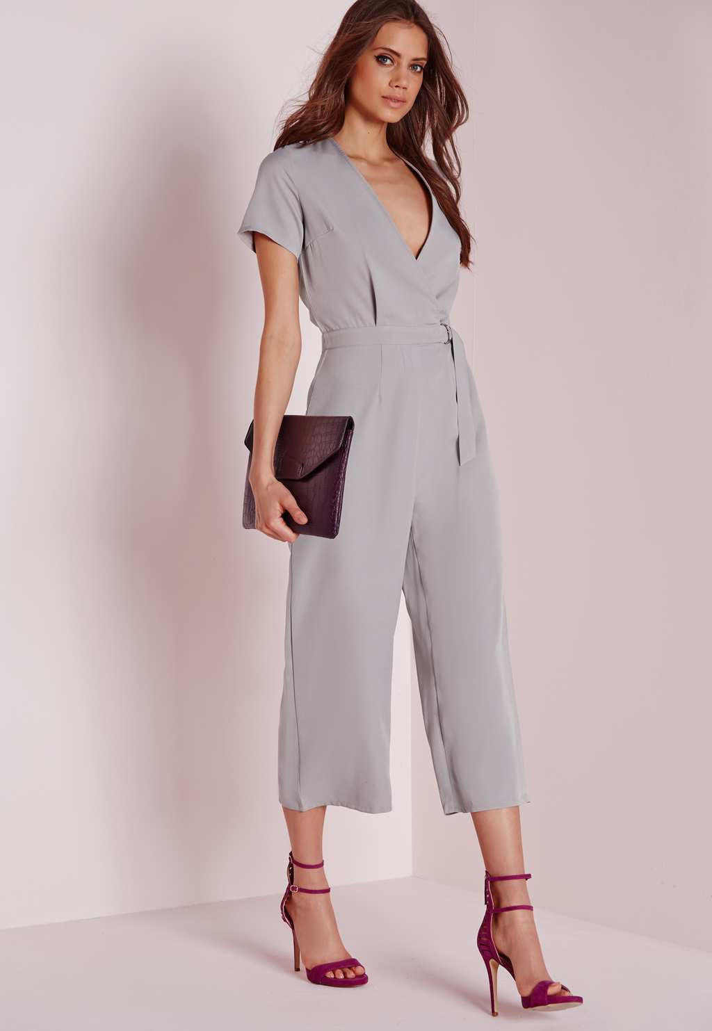 Tall Exclusive D Ring Culotte Jumpsuit Grey, Grey - neckline: low v-neck; pattern: plain; waist detail: belted waist/tie at waist/drawstring; predominant colour: light grey; occasions: evening; length: calf length; fit: body skimming; sleeve length: short sleeve; sleeve style: standard; style: jumpsuit; pattern type: fabric; texture group: other - light to midweight; season: a/w 2015; wardrobe: event