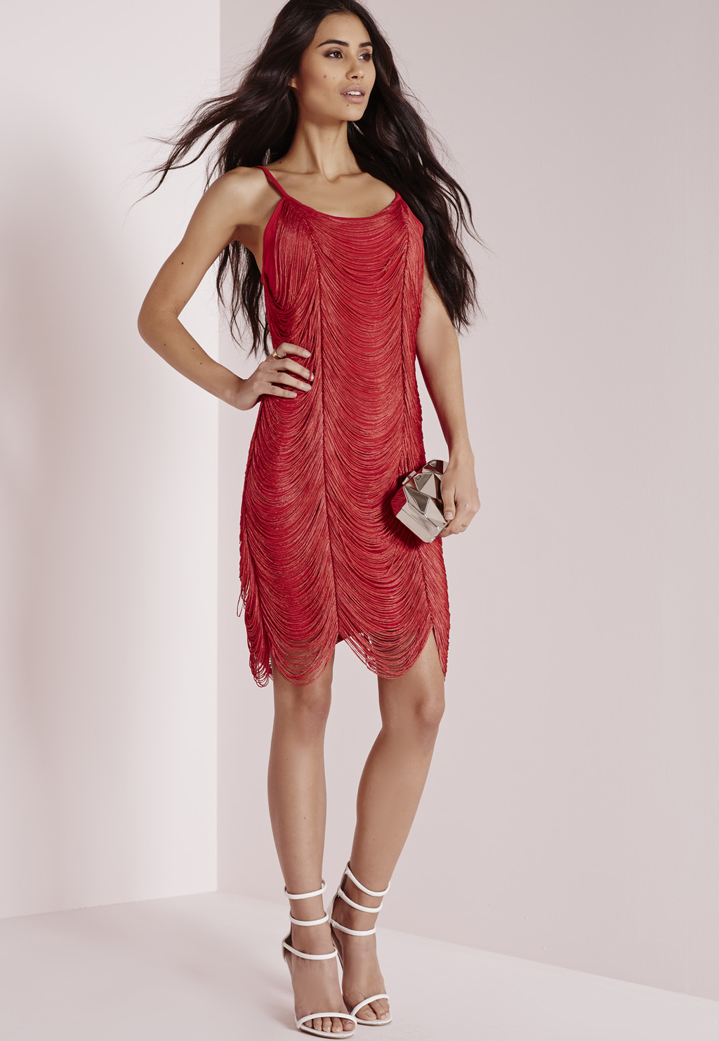 Fringe Drape Bodycon Dress Red, Red - sleeve style: standard vest straps/shoulder straps; fit: tight; pattern: plain; style: bodycon; predominant colour: true red; occasions: evening, occasion; length: just above the knee; neckline: scoop; fibres: polyester/polyamide - stretch; sleeve length: sleeveless; pattern type: fabric; texture group: other - light to midweight; embellishment: fringing; season: a/w 2015