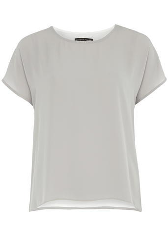 Womens Grey And White Woven Tee Grey - pattern: plain; style: t-shirt; predominant colour: light grey; occasions: casual; length: standard; fibres: polyester/polyamide - 100%; fit: body skimming; neckline: crew; sleeve length: short sleeve; sleeve style: standard; pattern type: fabric; texture group: other - light to midweight; season: a/w 2015; wardrobe: basic