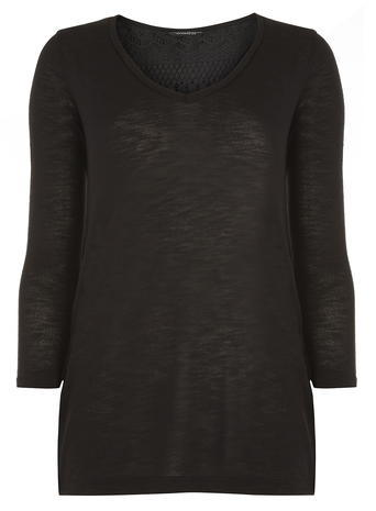Womens **Tall Black Zip Lace Top Black - neckline: v-neck; pattern: plain; length: below the bottom; style: t-shirt; predominant colour: black; occasions: casual, creative work; fibres: polyester/polyamide - mix; fit: body skimming; sleeve length: 3/4 length; sleeve style: standard; pattern type: fabric; pattern size: standard; texture group: jersey - stretchy/drapey; season: a/w 2015; wardrobe: basic