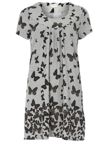 Womens **Voulez Vouz Grey Butterfly Tunic Grey - neckline: v-neck; style: tunic; secondary colour: mid grey; predominant colour: black; occasions: casual; fibres: polyester/polyamide - stretch; fit: straight cut; length: mid thigh; sleeve length: short sleeve; sleeve style: standard; pattern type: fabric; pattern size: standard; pattern: patterned/print; texture group: jersey - stretchy/drapey; season: a/w 2015; wardrobe: highlight