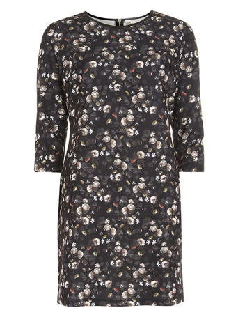 Womens **Voulez Vouz Brown 3/4 Sleeve Dress Brown - style: shift; length: mid thigh; secondary colour: charcoal; predominant colour: black; occasions: evening; fit: body skimming; neckline: crew; sleeve length: 3/4 length; sleeve style: standard; pattern type: fabric; pattern size: standard; pattern: florals; texture group: jersey - stretchy/drapey; multicoloured: multicoloured; season: a/w 2015