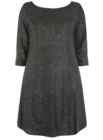 Womens **Amy.K Curve Silver Glitter Dress Silver - style: tunic; length: mid thigh; neckline: round neck; pattern: plain; predominant colour: silver; occasions: evening; fit: body skimming; fibres: polyester/polyamide - stretch; sleeve length: 3/4 length; sleeve style: standard; pattern type: fabric; texture group: jersey - stretchy/drapey; embellishment: glitter; season: a/w 2015