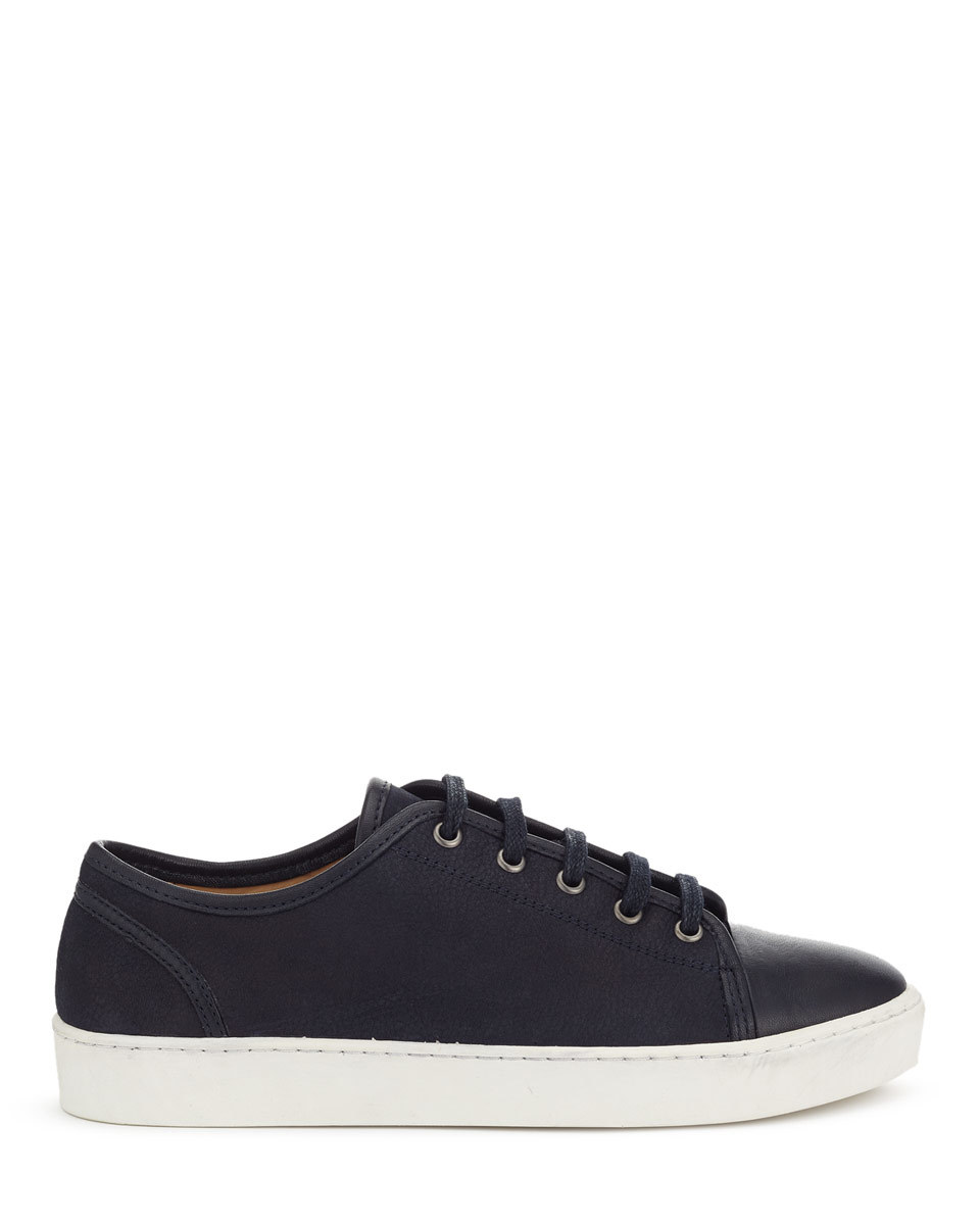 Ayda Leather Trainers - predominant colour: black; occasions: casual; material: leather; heel height: flat; toe: round toe; style: trainers; finish: plain; pattern: plain; shoe detail: moulded soul; season: a/w 2015; wardrobe: highlight