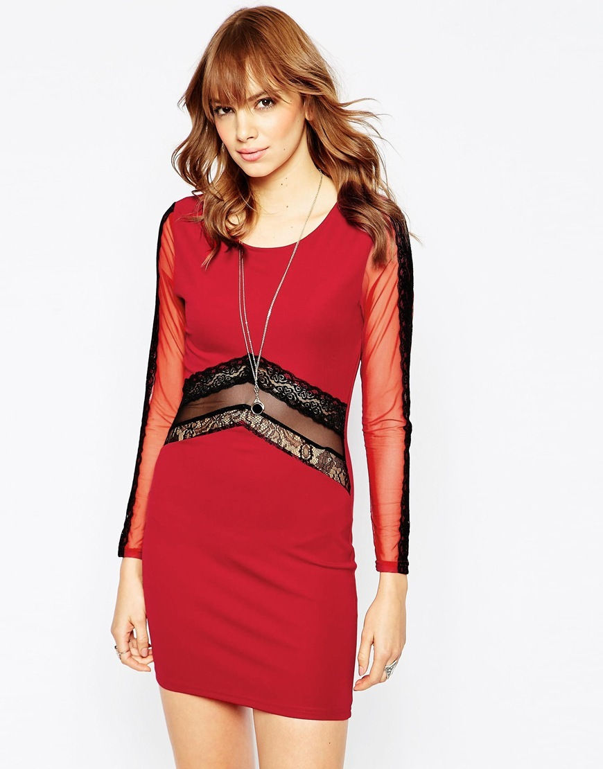 New Yorker Dress With Mesh And Lace Inserts Red - length: mini; neckline: round neck; fit: tight; pattern: plain; style: bodycon; predominant colour: true red; secondary colour: black; occasions: evening; fibres: polyester/polyamide - 100%; sleeve length: long sleeve; sleeve style: standard; texture group: jersey - clingy; pattern type: fabric; embellishment: sequins; season: a/w 2015; wardrobe: event