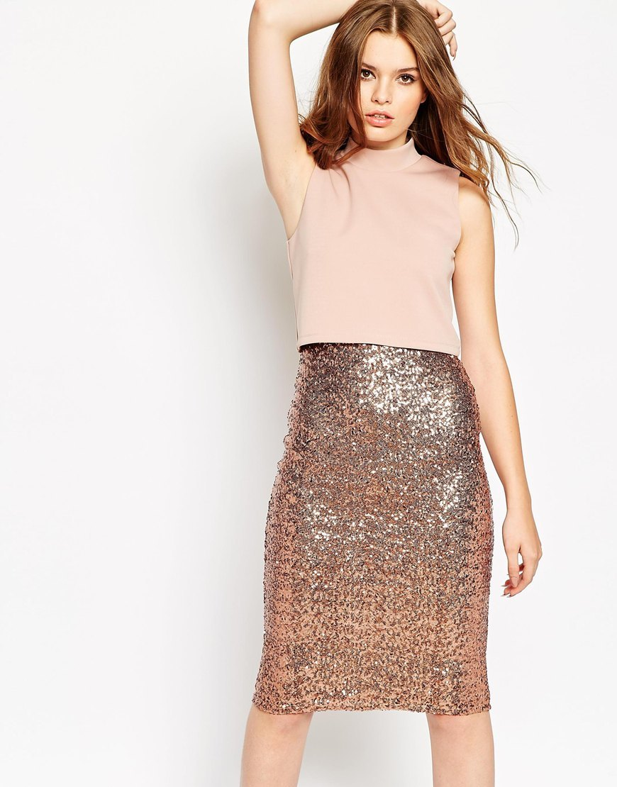 Crop Top Midi Sequin Skirt Bodycon Dress Bronze - fit: tight; pattern: plain; sleeve style: sleeveless; neckline: high neck; style: bodycon; predominant colour: blush; occasions: evening; length: on the knee; fibres: polyester/polyamide - stretch; sleeve length: sleeveless; texture group: jersey - clingy; pattern type: fabric; embellishment: sequins; season: a/w 2015; wardrobe: event