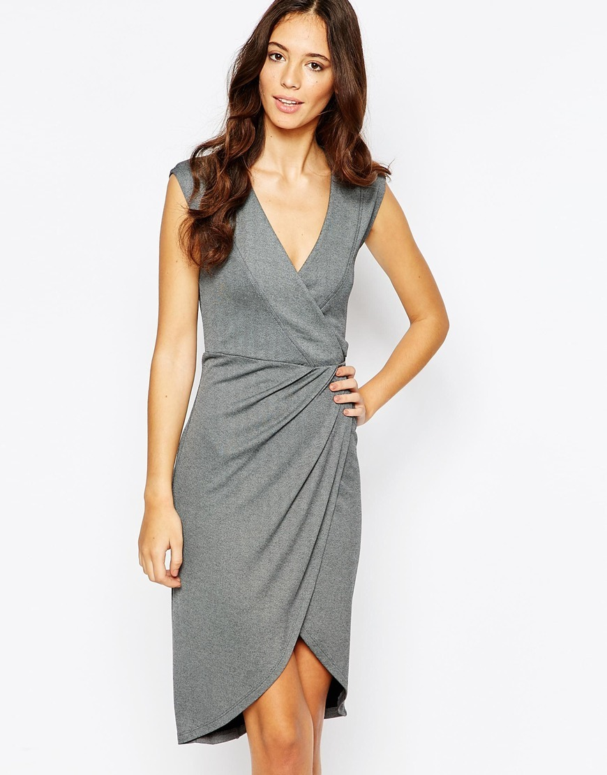 Faux Wrap Dress Grey - style: faux wrap/wrap; neckline: v-neck; sleeve style: capped; fit: tailored/fitted; pattern: plain; predominant colour: mid grey; occasions: evening; length: on the knee; fibres: viscose/rayon - 100%; hip detail: subtle/flattering hip detail; sleeve length: short sleeve; pattern type: fabric; texture group: jersey - stretchy/drapey; season: a/w 2015; wardrobe: event