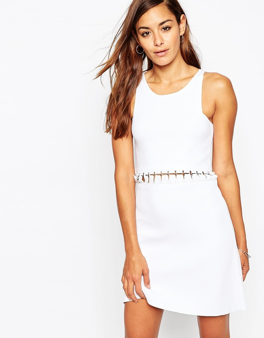 Premium Dress In Structured Knit With Lace Up Detail White - style: shift; length: mid thigh; neckline: round neck; fit: tailored/fitted; pattern: plain; sleeve style: sleeveless; predominant colour: white; occasions: evening; waist detail: cut out detail; sleeve length: sleeveless; texture group: knits/crochet; pattern type: fabric; fibres: viscose/rayon - mix; season: a/w 2015
